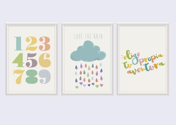 Cuadros Infantiles Láminas Infantiles Frases Láminas Para Imprimir Habitación Bebé O Niños Niñas Set 6 Láminas Descarga Instantánea
