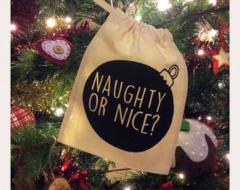 Christmas Mini Santa Sack, Naughty or Nice