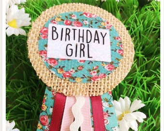 Floral Print Birthday Girl Ribbon Rosette Badge