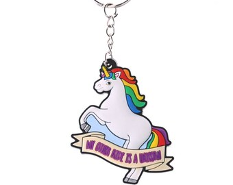 Dancing Unicorn Keyring, My Other Ride Is A Unicorn Quote