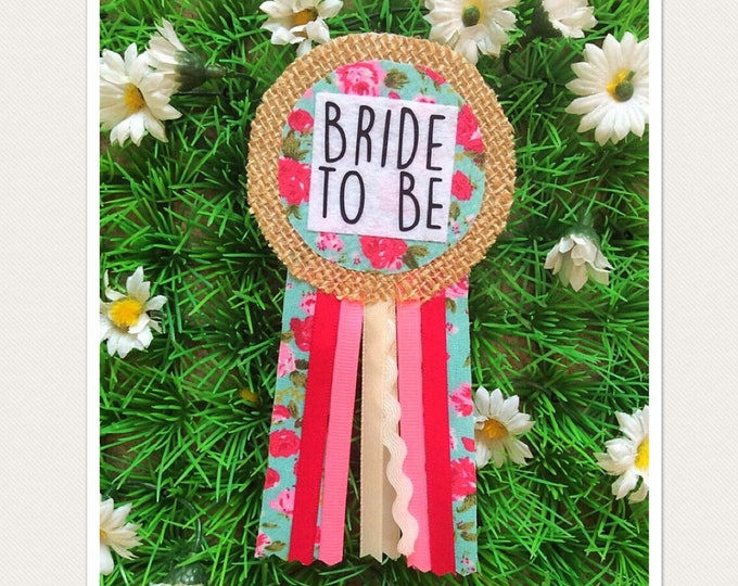 Featured listing image: Bride to be, Hen Party Ribbon Rosette Badge