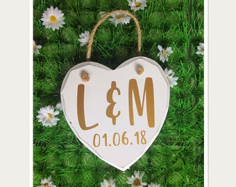 Personalised Initials Hanging Heart Sign