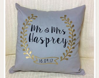 Personalised Mr and Mrs Pillow Cover