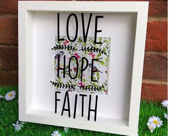 Love Hope Faith Box Frame