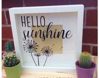 Hello Sunshine Dandelion Quote Shadow Box Frame