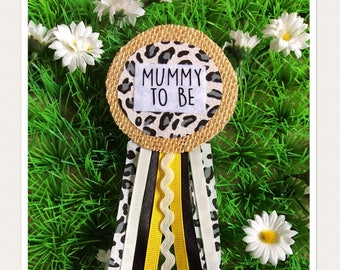Leopard Print Mummy To Be Badge Rosette