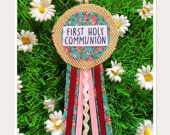 First Holy Communion Ribbon Rosette Badge