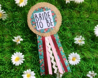 Bride To Be Hen Party Ribbon Rosette Corsage Badge