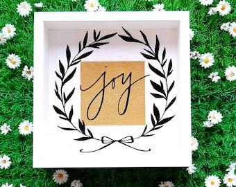 Christmas Shadow Box, Joy Sign, Joy Wreath Sign