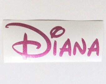 Personalised Name Vinyl Decal, Disney Name Sticker