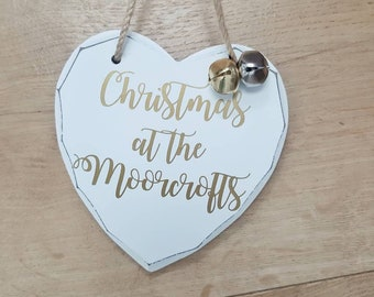 Family Christmas Personalised Hanging Plaque Sign