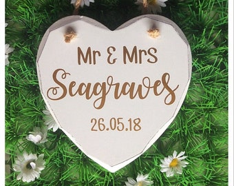 Mr & Mrs Hanging Heart Sign