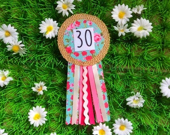 30th Birthday Age Ribbon Rosette Badge
