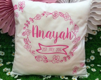 Personalised New Baby Naming Cushion Cover