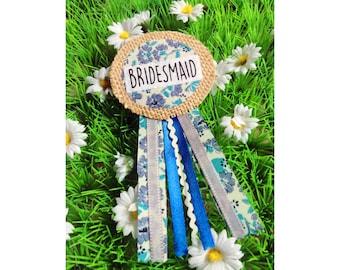 Bridesmaid Ribbon Rosette Badge, Blue