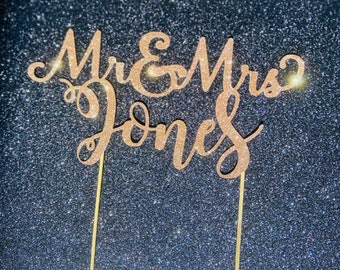 Mr and Mrs Personalised Wedding Cake Topper