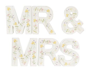 Wooden Vintage Floral Mr and Mrs Letters