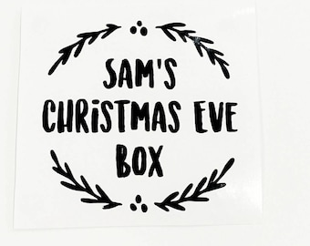 Christmas Eve Box Decal Sticker, Personalised Decal