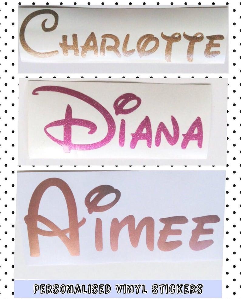 disney schrift aufkleber aufkleber glitter namen aufkleber | etsy