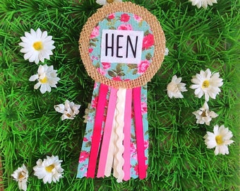 Hen Party Ribbon Rosette Badge