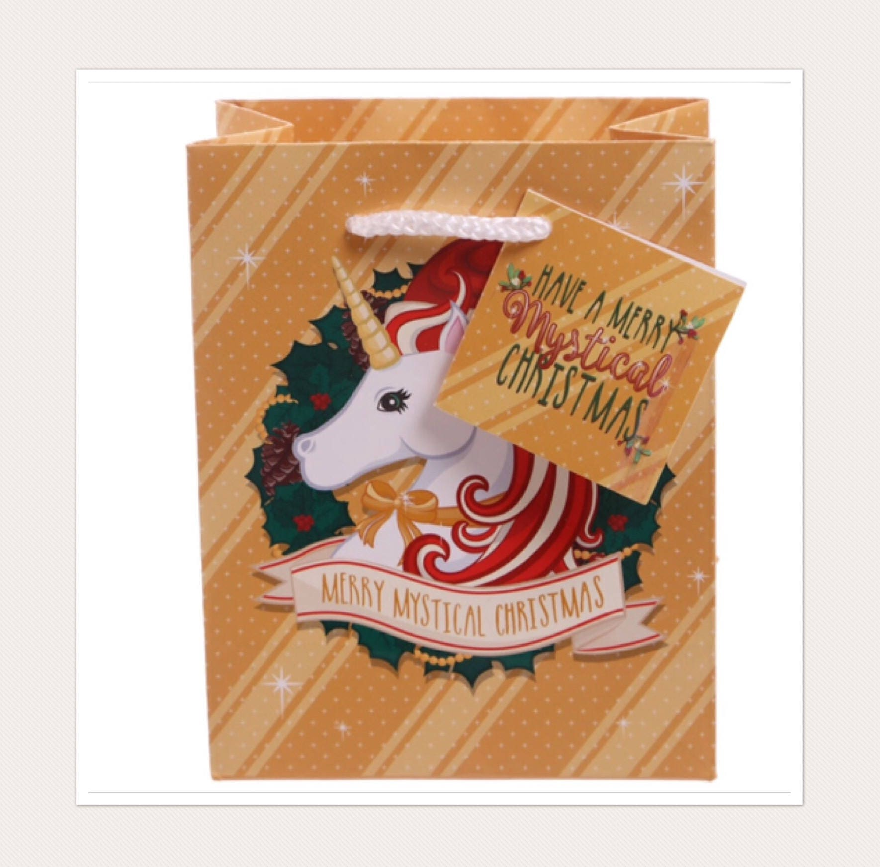 Gold Unicorn Christmas Gift Bag (small)