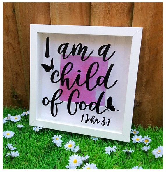 Bible Verse Scripture, Shadow Box Frame, Christening Gift, Modern Christian  home, I Am A Child Of God, Bible Reference, Bible Study