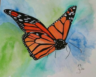 Hand painted Ink Memorial Butterfly