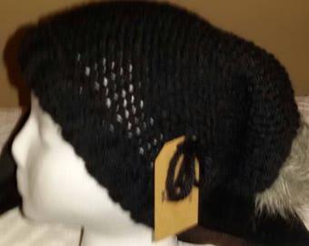 Cool Black hat with Grey Faux Fox Pom