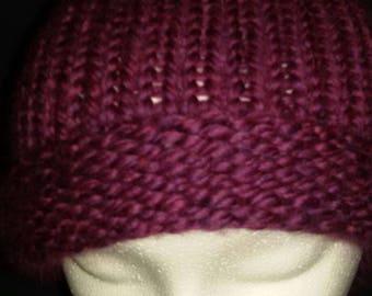 Magenta pompom hat