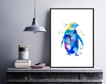 Nursery Download Print, Watercolor Penguin Print, Watercolor Digital Printable Art, Kids Room Decor, Poster Nursery Animal Print, Download