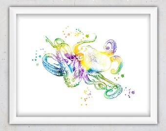 Watercolor Sea Animal Nursery Wall Art Print, Colorful Octopus Print, Watercolor Print, Instant Download Print, Digital Art, Sea Wall Decor