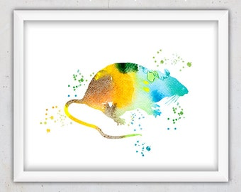 Nursery Print, Rat Watercolor Forest Animal Print, Nursery Wall Art, Instant Download Printable Art, Kids Wall Art, Blue Yellow Orange Green