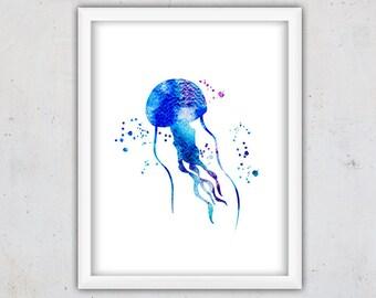 Jellyfish Watercolor Print, Jellyfish Print, Sea Animal Nursery Print, Digital Download Nursery Nautical Art Print, Kids Jellyfish Wall Art