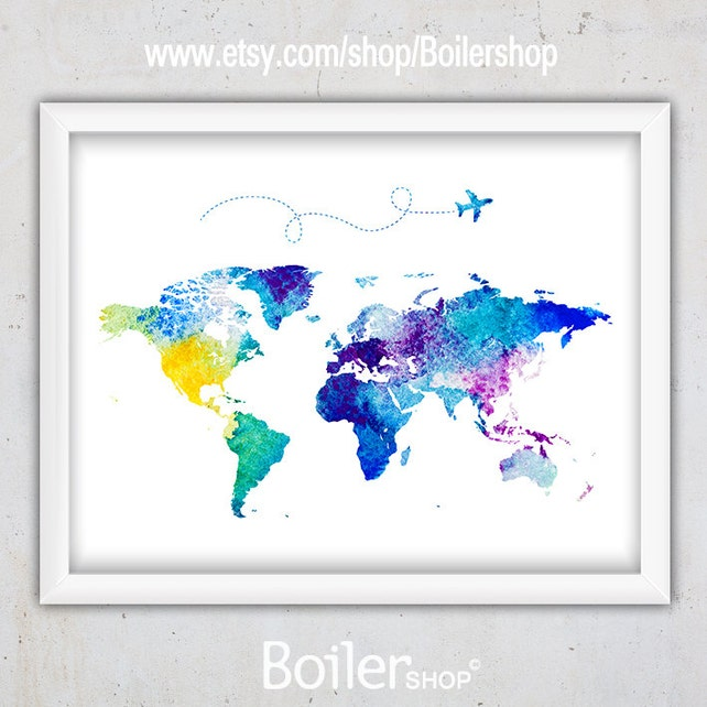 Watercolor world map print nursery world map print world map etsy image 0 gumiabroncs Images