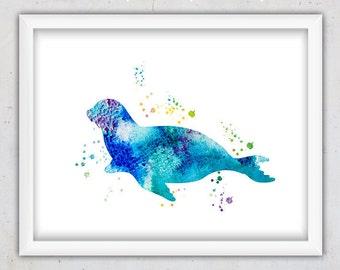 Watercolor Seal Print, Nursery Animal Printable Print, Nursery Seal Print, Nursery poster, Ocean Animal Art, Digital Instant Download Print