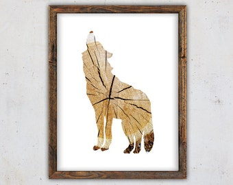 Wolf Printable Wolf Art Print, Digital Art Print, Rustic Wall Art, Download Wolf Print, Forest Animal Print, Wood Print, Woodland Print