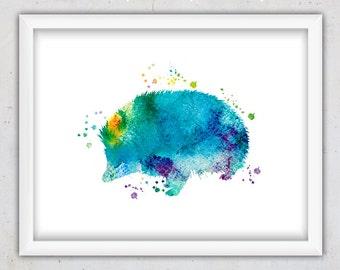 Hedgehog Print, Digital Nursery Print, Animal Print, Watercolor, Instant Download Printable Art, Nursery Wall Art, Kids Art, Baby Room Art