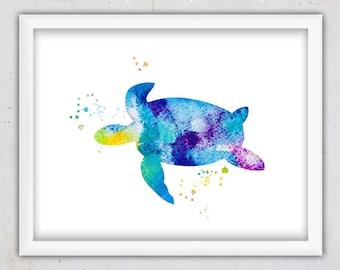 Watercolor Sea Turtle Nursery Print,Nautical Print, Sea Turtle Print, Watercolor Print, Digital Download Watercolor Print, Wall Art Print