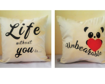 "Valentine Cushion,Both side with Message,Handmade Valentine Cushion, Valentine Message Cushion, 16"" x 16"" cushion, Valentine Gift by MasfeMY"