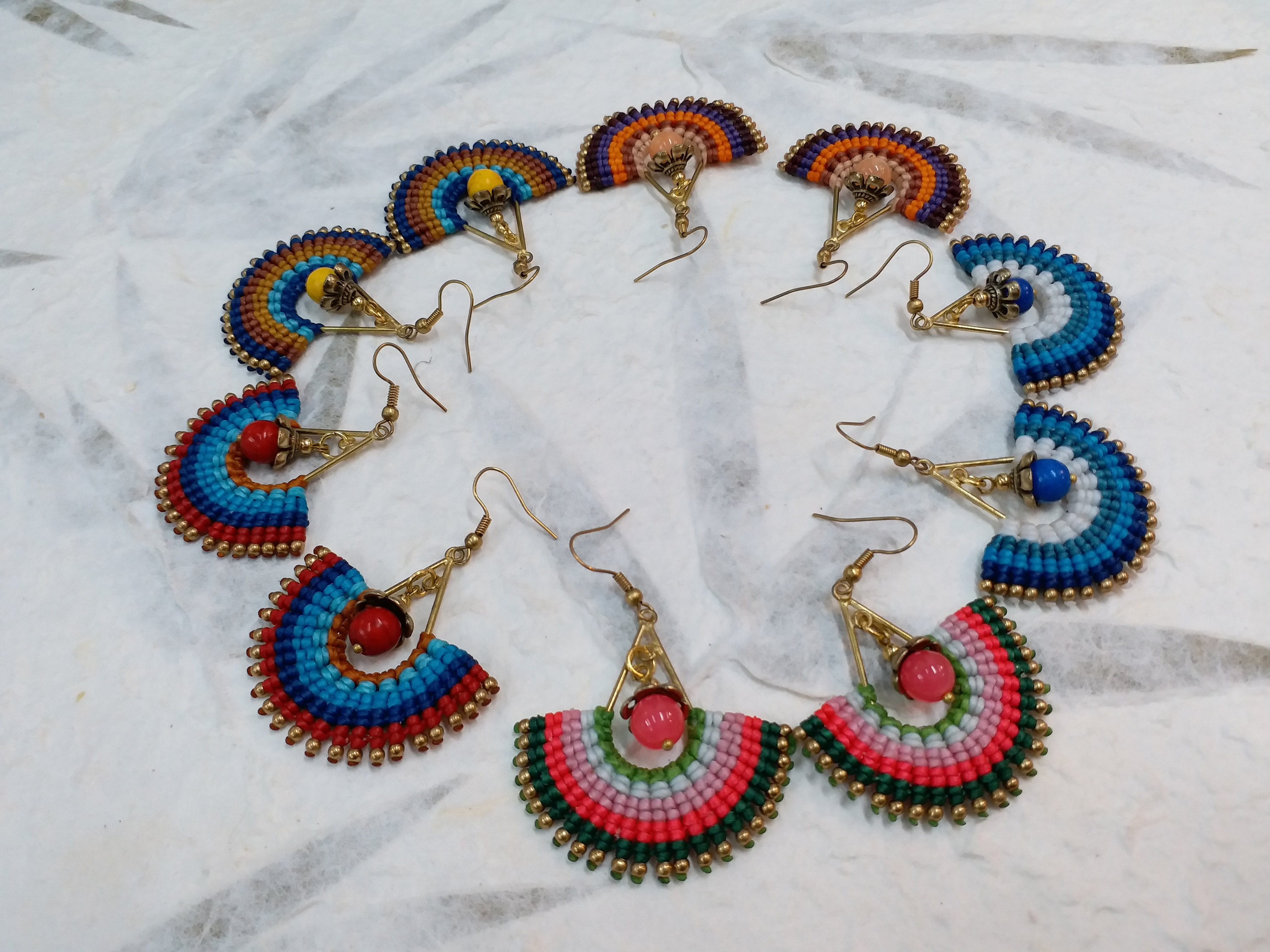 Thai Macrame Earring Brass with Cotton Waxed
