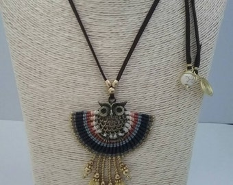Thai Macrame Necklace, Brass, Stone, Chamois Leather and Bronze Owl