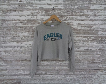 70906c9f580a 208 Rare Distressed Cut Up Eagles NFL Heather Gray Grey Long Sleeve Crop  Top T-Shirt