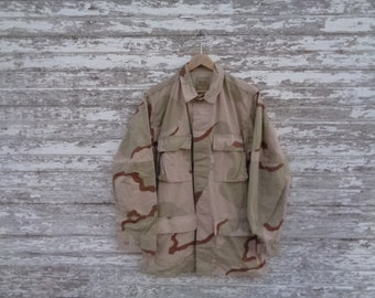 38961ee60e 2 VINTAGE Rare Distressed Army Camo Camouflage ACU Combat Jacket Shirt  Blouse | Size Small Long Thrashed Trashed | X