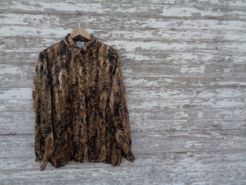 Poly The Bunk Haus \u2022 VINTAGE Retro Distressed BonWorth Button Up Down Sheer Feather Feathers Long Sleeve Blouse Shirt Top Size Small S