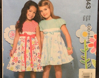 fdf0d70fe63e3 McCalls Pattern 7343 CDD Ruffles and Lace Treasured Collection Children s  Girls  Contrast-Bodice Dresses in Sizes 2-3-4-5