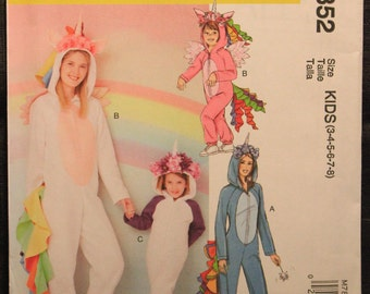 1fc94e503e9 McCalls Pattern 7852 Kids Cosplay Unicorn Pegasus or Alicorn Jumpsuit  Costumes in Sizes 3-4-5-6-7-8 Fantasy Halloween
