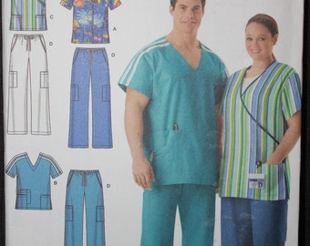 3065345f432 Simplicity Pattern 4101 BB Easy to Sew Plus Size Women's and Men's Scrub  Tops and Pants in Sizes XL-XxL-XxxL