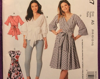 d8a26c94c5c3 McCalls Pattern 7627 A5 Laura Ashley Designs Misses  Wrap Tops and Dresses  with Waist Tie in Sizes 6-8-10-12-14