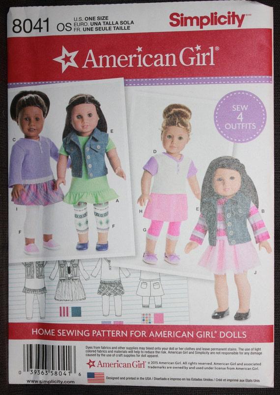 Einfachheit 8041 American Girl Puppenkleidung für   Etsy