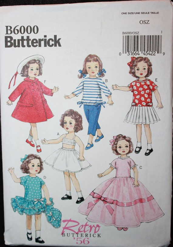 One size Butterick Patterns 6265 OSZ,18 Doll Clothes
